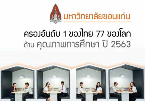 KKU has been ranked as the 1st of the nation and the 77th of the world by THE impact Ranking 2020: Quality Education (Times Higher Education)