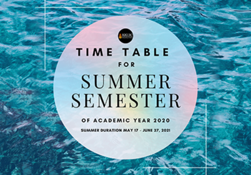 Time Table for summer semester of Academic year 2020